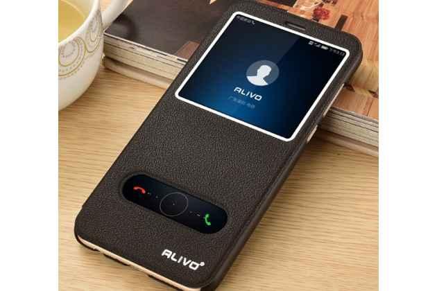 Фирменный чехол-книжка для Huawei P20 Lite / Nova 3e черный с окошком для входящих вызовов и свайпом водоотталкивающий