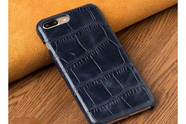 Фирменная элегантная задняя панель-крышка с фактурной отделкой натуральной кожи крокодила  для Huawei P20 Lite / Nova 3e синяя. Только в нашем магазине. Количество ограничено.