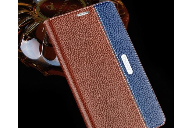 Фирменный премиальный чехол-книжка из качественной импортной кожи с мульти-подставкой и визитницей для Huawei P20 Lite / Nova 3e коричнево-синий