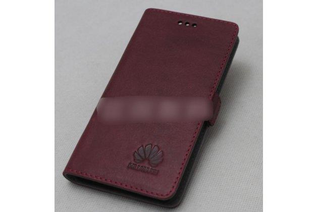 Фирменный оригинальный подлинный чехол с логотипом для Huawei P20 Lite / Nova 3e из натуральной кожи цвет красное вино