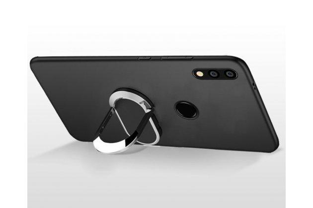 Задняя панель-крышка из из тончайшего и прочного силикона с матовым противоскользящим покрытием для Huawei P20 Lite / Nova 3e с магнитным держателем в черном цвете