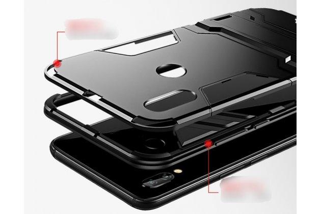 Противоударный усиленный ударопрочный фирменный чехол-бампер-пенал для Huawei P20 Lite / Nova 3e черный