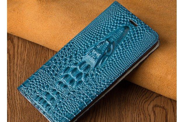 Фирменный роскошный эксклюзивный чехол с объёмным 3D изображением кожи крокодила синий для Huawei P20 Lite / Nova 3e  Только в нашем магазине. Количество ограничено