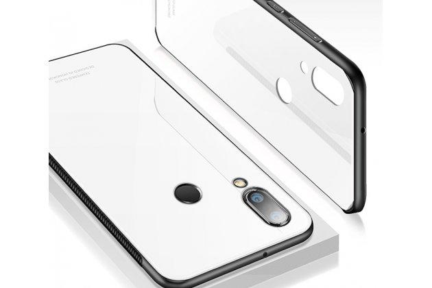 Фирменный ультра-тонкий силиконовый чехол-бампер для Huawei P20 Lite / Nova 3e с закаленным стеклом на заднюю крышку телефона белый