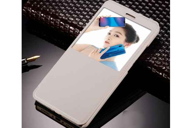 Фирменный оригинальный чехол-книжка для Huawei P20 Lite / Nova 3e белый с окошком для входящих вызовов водоотталкивающий