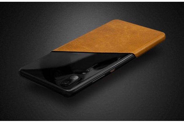Оригинальная эксклюзивная задняя кожаная наклейка (из натуральной кожи) для Huawei P20 Lite / Nova 3e черная