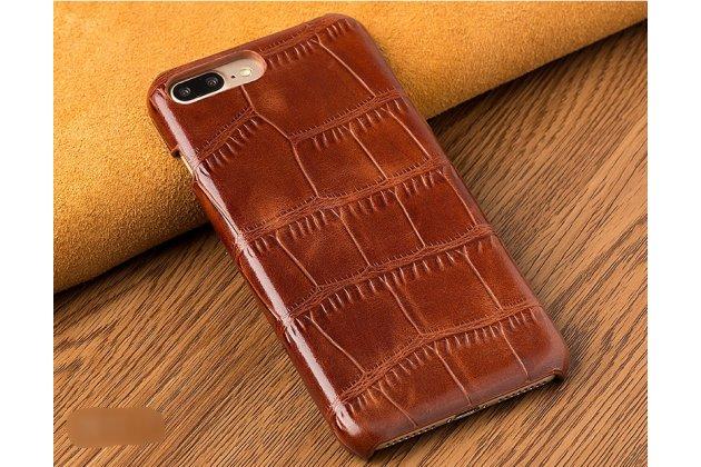 Фирменная элегантная задняя панель-крышка с фактурной отделкой натуральной кожи крокодила для Huawei P20 Lite / Nova 3e коричневая. Только в нашем магазине. Количество ограничено.