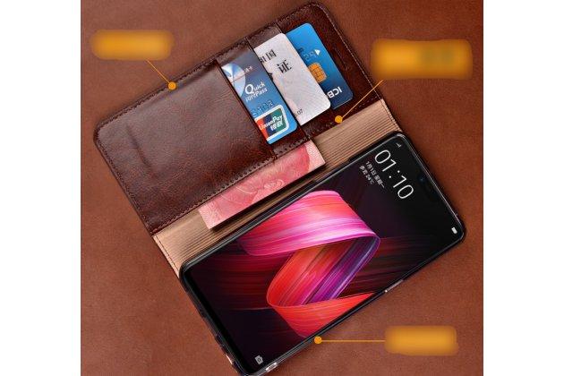 Фирменный премиальный элитный чехол-книжка из качественной импортной кожи с мульти-подставкой и визитницей для Huawei P20 Lite / Nova 3e красный