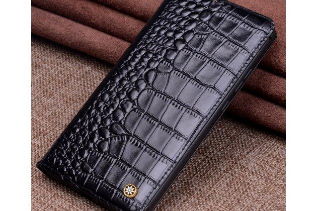 Фирменный роскошный эксклюзивный чехол с фактурной прошивкой рельефа кожи крокодила черный для Huawei P20 Lite / Nova 3e. Только в нашем магазине. Количество ограничено