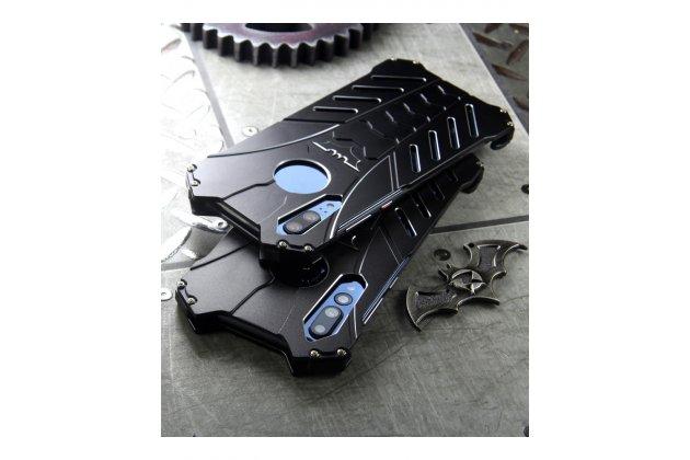 Противоударный металлический чехол-бампер из цельного куска металла с усиленной защитой углов и необычным экстремальным дизайном  для  Huawei P20 Lite / Nova 3e черного цвета