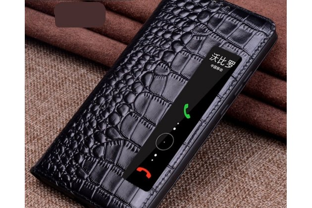 Фирменный роскошный эксклюзивный чехол с фактурной прошивкой рельефа кожи крокодила и боковым окном черный для Huawei P20 Lite / Nova 3e. Только в нашем магазине. Количество ограничено
