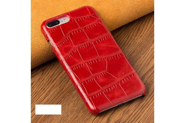 Фирменная элегантная задняя панель-крышка с фактурной отделкой натуральной кожи крокодила для Huawei P20 Lite / Nova 3e красная. Только в нашем магазине. Количество ограничено.