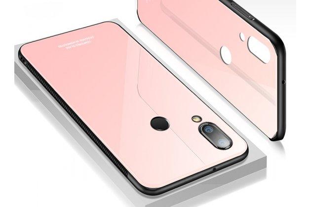 Фирменный ультра-тонкий силиконовый чехол-бампер для Huawei P20 Lite / Nova 3e с закаленным стеклом на заднюю крышку телефона розовое золото