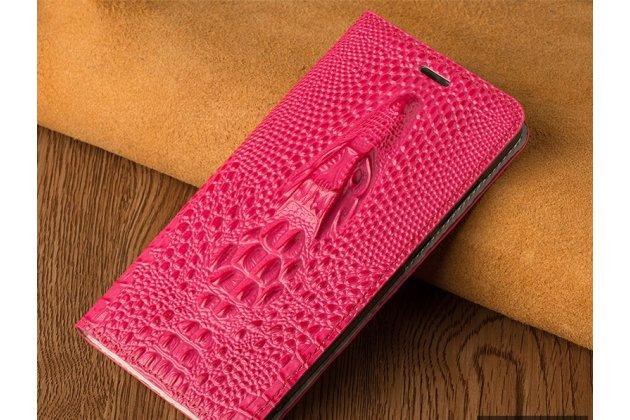 Фирменный роскошный эксклюзивный чехол с объёмным 3D изображением кожи крокодила розовый для Huawei P20 Lite / Nova 3e  Только в нашем магазине. Количество ограничено