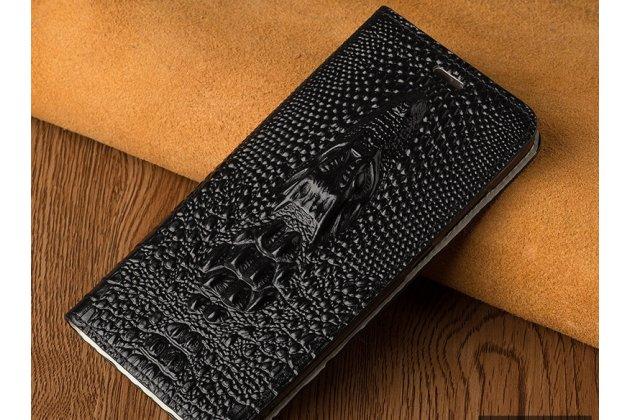 Фирменный роскошный эксклюзивный чехол с объёмным 3D изображением кожи крокодила черный для Huawei P20 Lite / Nova 3e  Только в нашем магазине. Количество ограничено