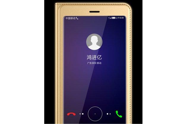 Фирменный оригинальный чехол-книжка для Huawei P20 Lite / Nova 3e золотой с окошком для входящих вызовов водоотталкивающий