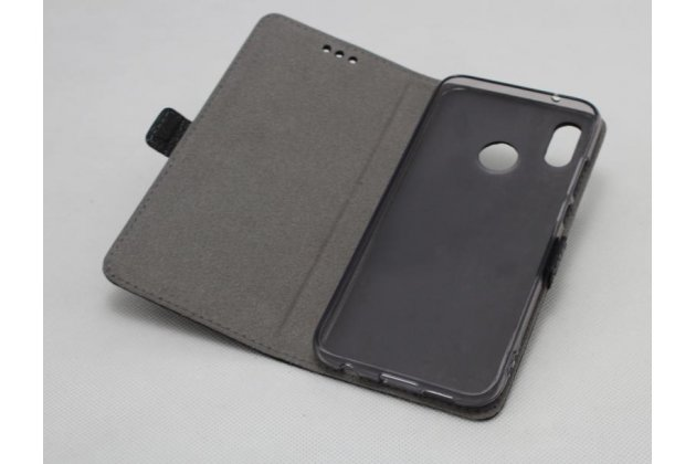 Фирменный оригинальный подлинный чехол с логотипом для Huawei P20 Lite / Nova 3e из натуральной кожи крокодила черный