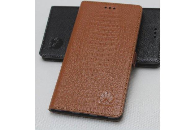 Фирменный оригинальный подлинный чехол с логотипом для Huawei P20 Lite / Nova 3e из натуральной кожи крокодила светло-коричневый