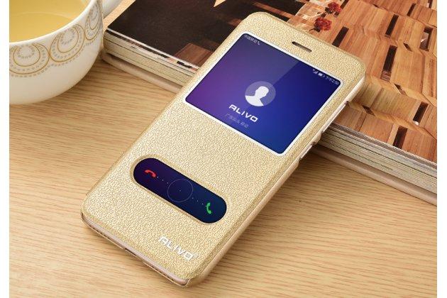 Фирменный чехол-книжка для Huawei P20 Lite / Nova 3e золотой с окошком для входящих вызовов и свайпом водоотталкивающий