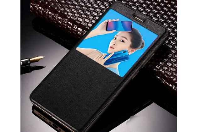 Фирменный оригинальный чехол-книжка для Huawei P20 Lite / Nova 3e черный с окошком для входящих вызовов водоотталкивающий