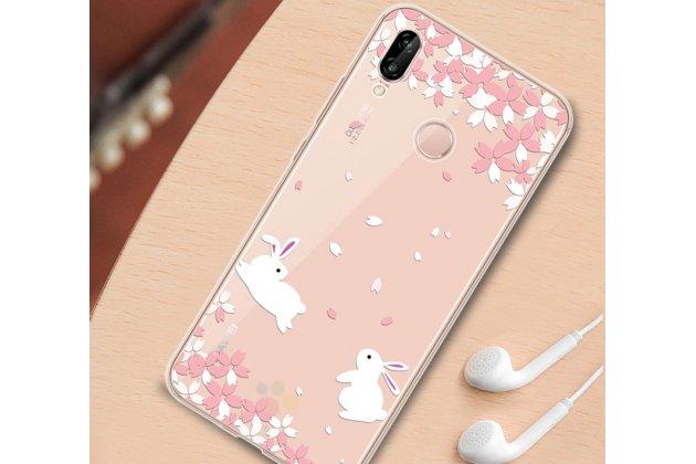 """Фирменная задняя панель-чехол-накладка из прозрачного 3D  силикона с объёмным рисунком для Huawei P20 Lite / Nova 3e тематика """"Кролики в цветах"""" которая огибает логотип чтобы была видна марка телефона"""