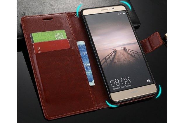 Фирменный чехол-книжка из качественной импортной кожи с подставкой застёжкой и визитницей для Huawei P20 Lite / Nova 3e коричневый