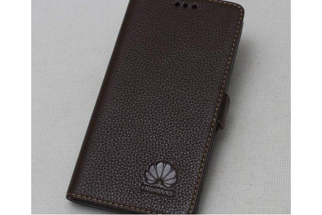 Фирменный оригинальный подлинный чехол с логотипом для Huawei P20 Lite / Nova 3e из натуральной кожи  коричневый