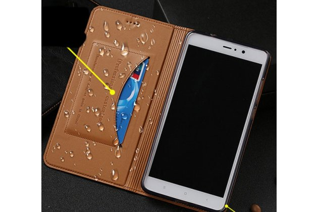 Фирменный премиальный элитный чехол-книжка из качественной импортной кожи с мульти-подставкой и визитницей для HTC U12  темно-коричневый