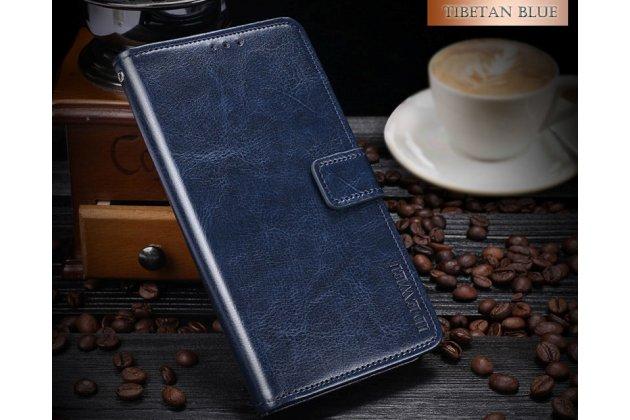 Фирменный чехол-книжка из качественной импортной кожи с подставкой застёжкой и визитницей для HTC Desire 12  Plus синий