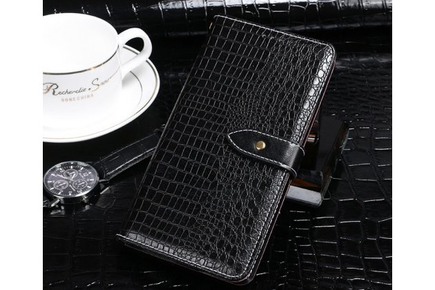 Фирменный роскошный эксклюзивный чехол с фактурной прошивкой рельефа кожи крокодила и визитницей черный для HTC Desire 12  Plus. Только в нашем магазине. Количество ограничено
