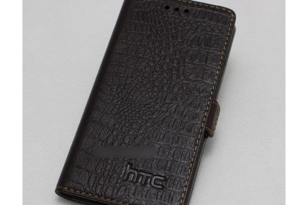 Фирменный оригинальный подлинный чехол с логотипом для HTC Desire 12  Plus из натуральной кожи крокодила коричневый