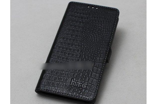 Фирменный оригинальный подлинный чехол с логотипом для HTC Desire 12  Plus из натуральной кожи крокодила черный
