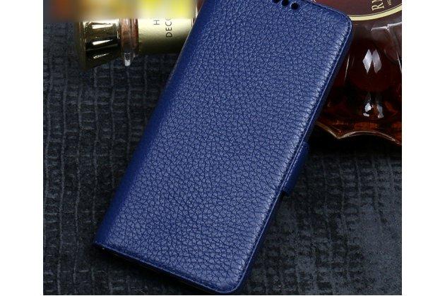 Фирменный премиальный элитный чехол-книжка из качественной импортной кожи с мульти-подставкой и визитницей для HTC Desire 12  Plus  синий