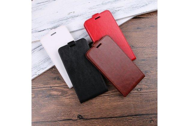 Фирменный оригинальный вертикальный откидной чехол-флип для HTC Desire 12  Plus белый из натуральной кожи Prestige