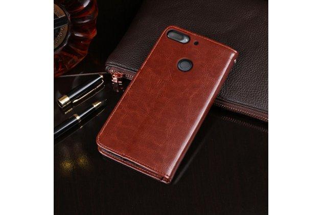 Фирменный чехол-книжка из качественной импортной кожи с подставкой застёжкой и визитницей для HTC Desire 12  Plus коричневый