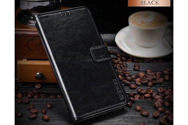 Фирменный чехол-книжка из качественной импортной кожи с подставкой застёжкой и визитницей для HTC Desire 12  Plus черный