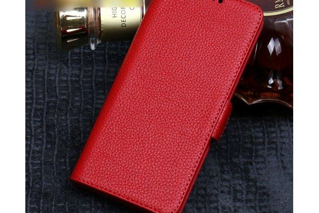 Фирменный премиальный элитный чехол-книжка из качественной импортной кожи с мульти-подставкой и визитницей для HTC Desire 12  Plus  красный