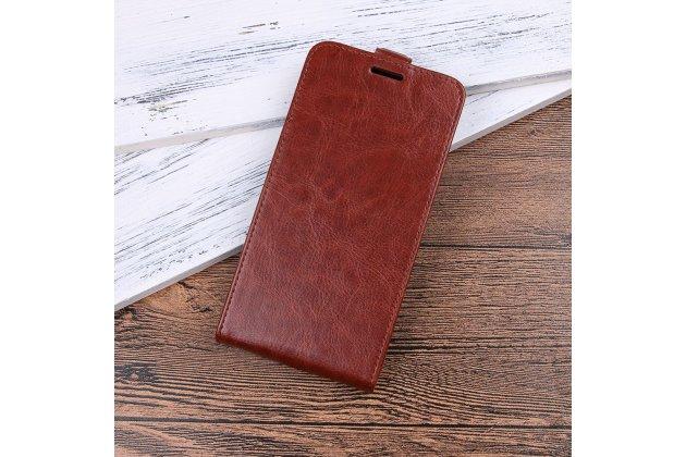 Фирменный оригинальный вертикальный откидной чехол-флип для HTC Desire 12  Plus коричневый  из натуральной кожи Prestige