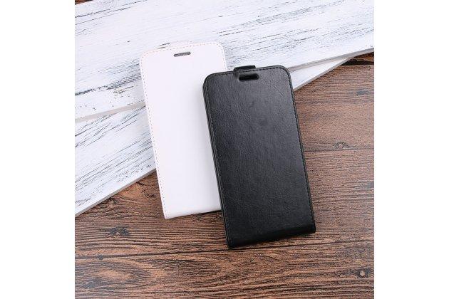 Фирменный оригинальный вертикальный откидной чехол-флип для HTC Desire 12  Plus черный из натуральной кожи Prestige
