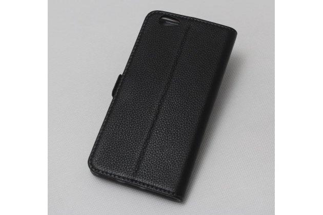 Фирменный оригинальный подлинный чехол с логотипом для HTC Desire 12  Plus из натуральной кожи черный