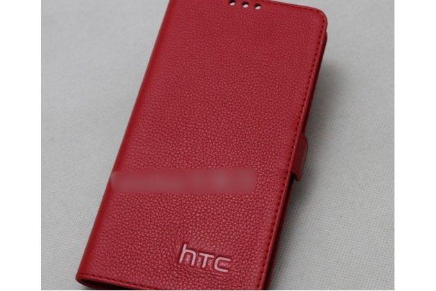 Фирменный оригинальный подлинный чехол с логотипом для HTC Desire 12  Plus из натуральной кожи красный