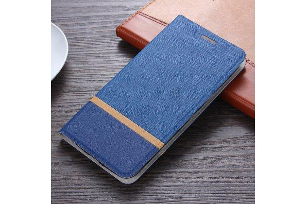 Фирменный чехол-книжка водоотталкивающий с мульти-подставкой на жёсткой металлической основе для HTC Desire 12  Plus синий из настоящей джинсы