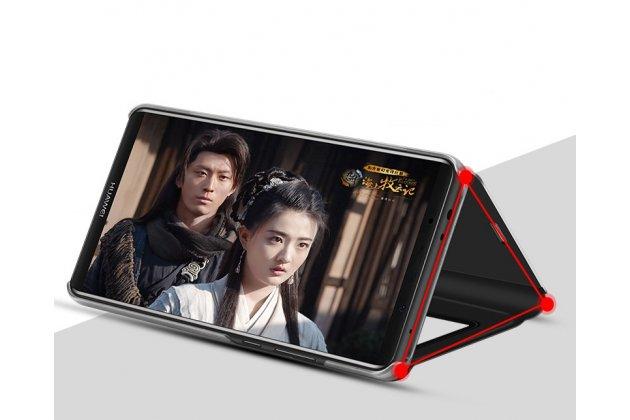 "Чехол-книжка с дизайном ""Clear View Standing Cover"" полупрозрачный с зеркальной поверхностью для Huawei Honor 7A / Huawei Honor Play 7 Standart/ Y5 Prime 2018 черный"