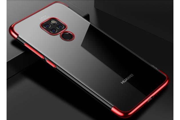 Фирменная задняя панель-чехол-накладка с защитными заглушками с защитой боковых кнопок для Huawei Mate 20 6.53 прозрачная красная