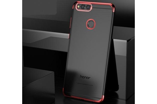 Фирменная задняя панель-чехол-накладка с защитными заглушками с защитой боковых кнопок для Huawei Honor 7A / Huawei Honor Play 7 Standart/ Y5 Prime 2018 прозрачная красная