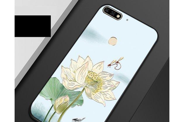 "Фирменная роскошная задняя панель-чехол-накладка  из мягкого силикона с безумно красивым расписным 3D рисунком на Huawei Honor 7A / Huawei Honor Play 7 Standart/ Y5 Prime 2018 ""тематика Цветок Лотоса"""
