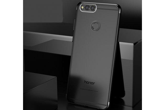 Фирменная задняя панель-чехол-накладка с защитными заглушками с защитой боковых кнопок для Huawei Honor 7A / Huawei Honor Play 7 Standart/ Y5 Prime 2018 прозрачная черная