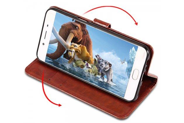 Фирменный чехол-книжка из качественной импортной кожи с подставкой застёжкой и визитницей для Huawei Honor 7A / Huawei Honor Play 7 Standart/ Y5 Prime 2018 коричневый