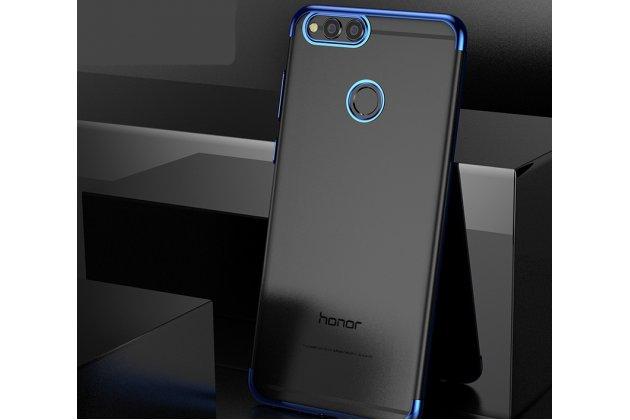 Фирменная задняя панель-чехол-накладка с защитными заглушками с защитой боковых кнопок для Huawei Honor 7A / Huawei Honor Play 7 Standart/ Y5 Prime 2018 прозрачная синяя