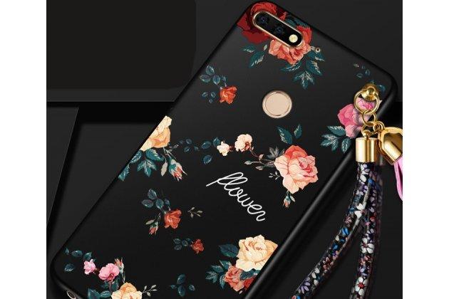 Фирменная уникальная задняя панель-крышка-накладка из тончайшего силикона для Huawei Honor 7A / Huawei Honor Play 7 Standart/ Y5 Prime 2018 с объёмным 3D рисунком тематика Розы